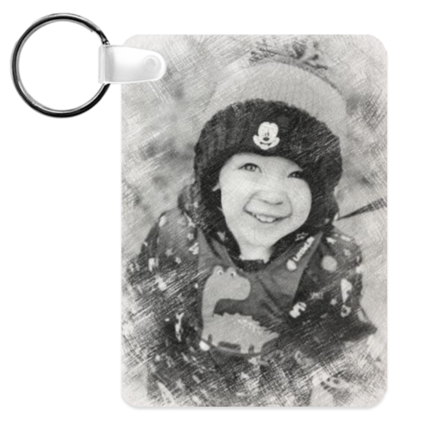 Personalised photo keyring your photo turned into sketch 6cm x 4cm