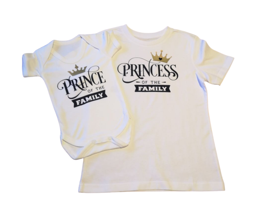 Prince or Princess of the family childrens kids white t-shirt