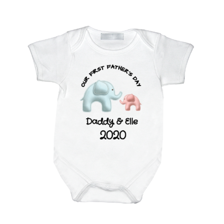 Personalised baby vest for first fathers day