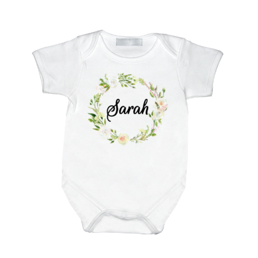 Personalised Baby Vest Flowers with name