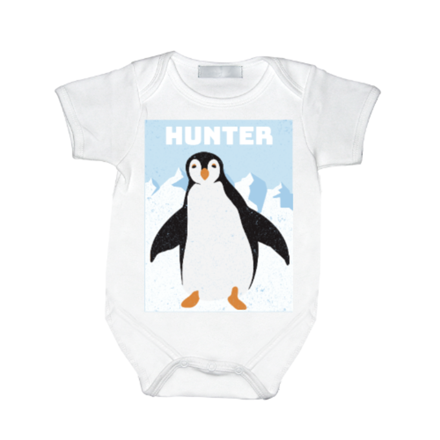 Personalised Baby Vest PENGUIN for boy or girl