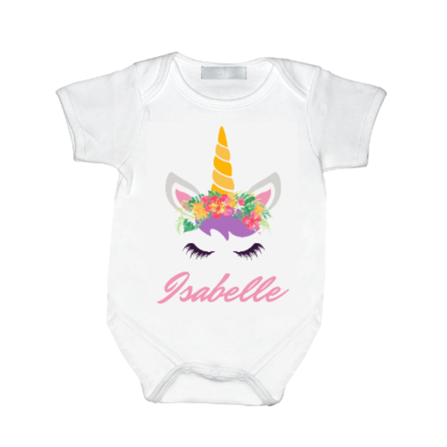 Personalised Unicorn baby girl vest with name