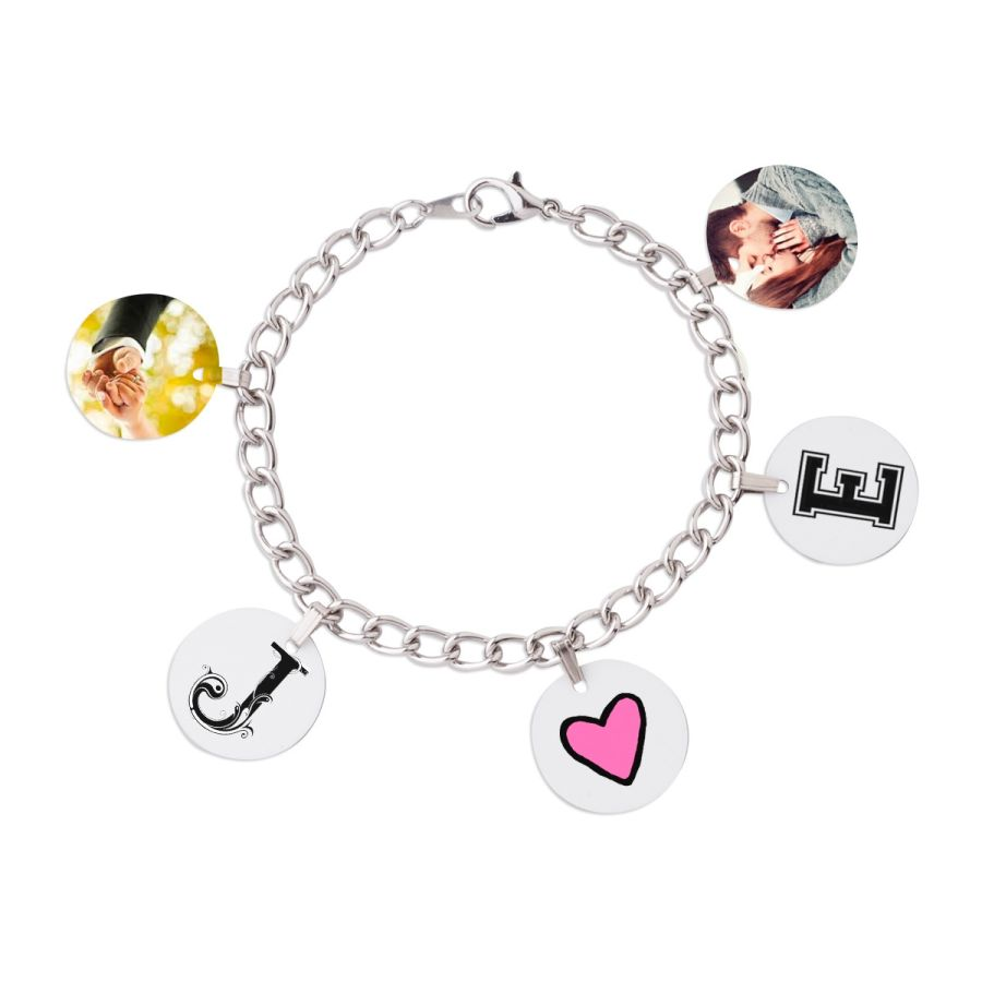 Silver plated charm bracelet for 5 photos or letters 178 mm long