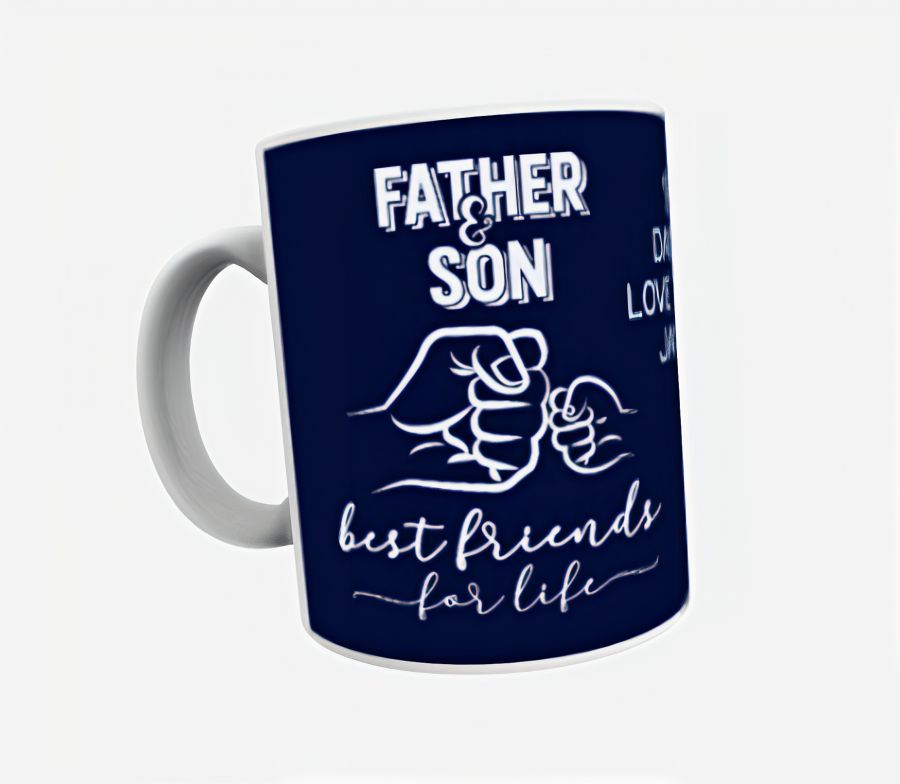 Father and son best friends for life personalised white mug