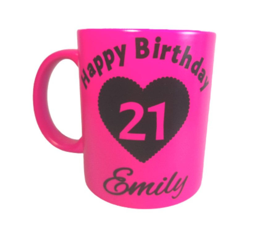 Personalised Neon Pink Mug for Birthday any age