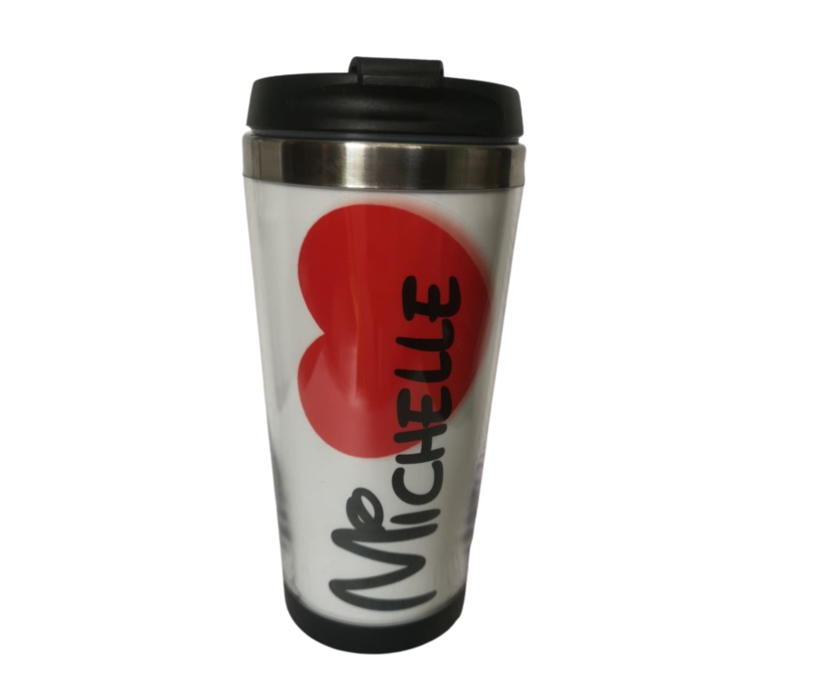 Travel Mug Personalised with name and red heart 450ml
