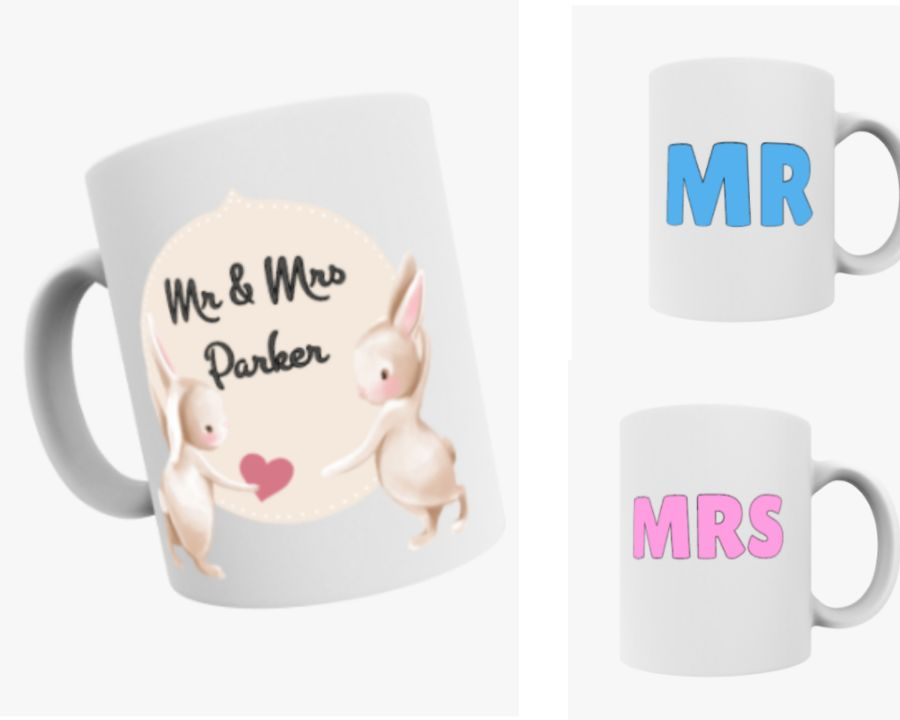 Personalised Set of 2 Mr and Mrs His and Hers 11oz mugs wedding gift