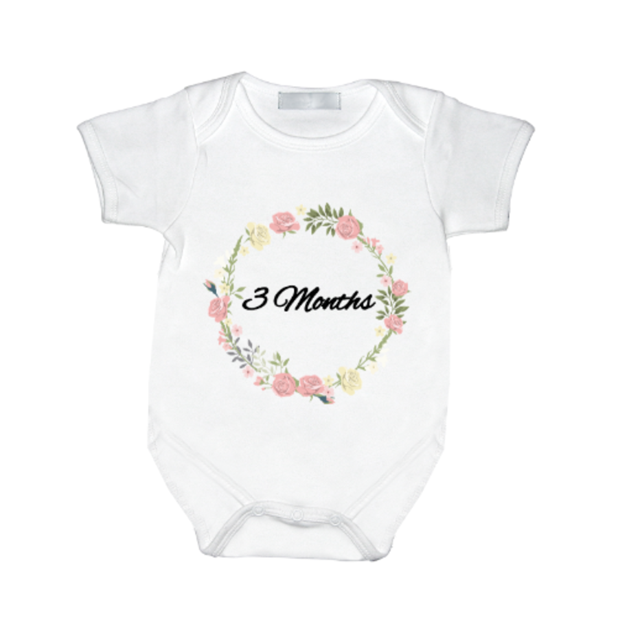 Personalised Milestone baby girl vest with name