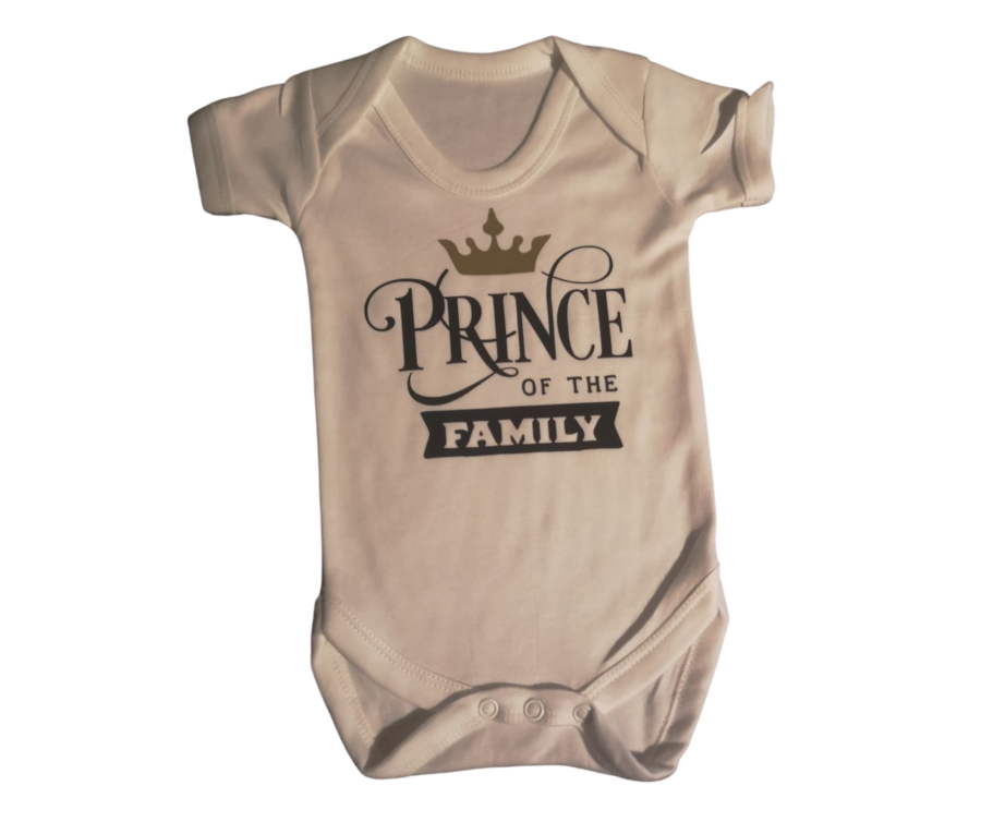 Personalised Prince/Princess of the family baby boy or girl vest with name