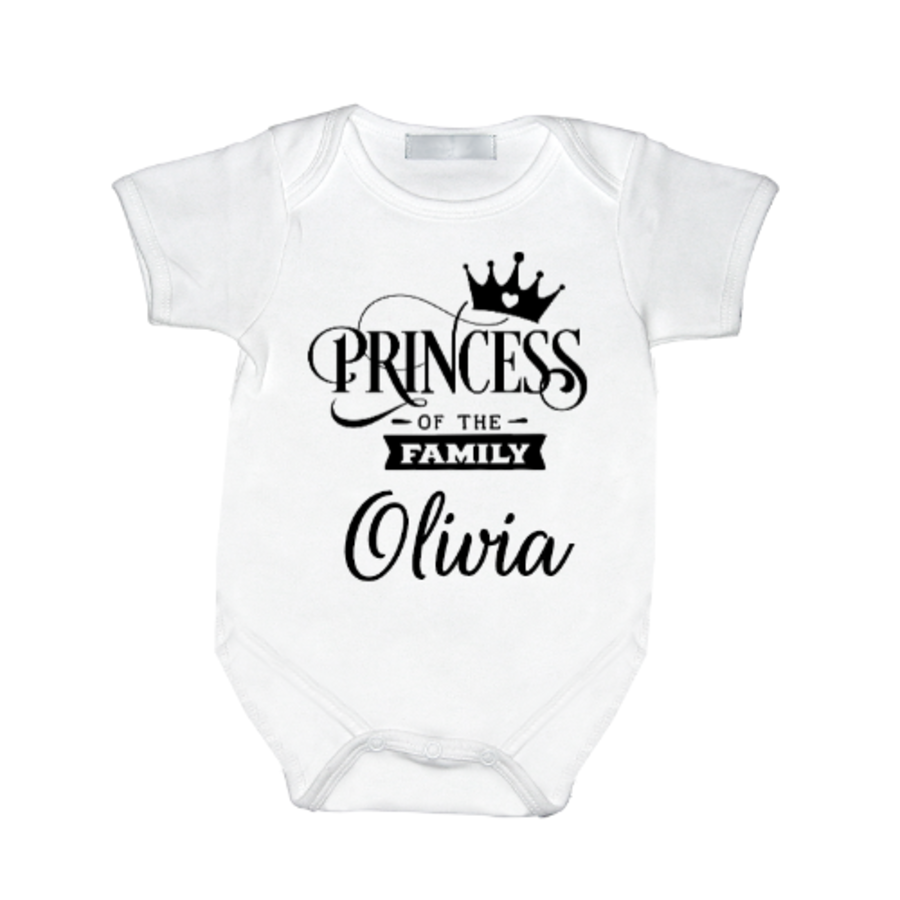 Personalised Princess baby girl vest with name