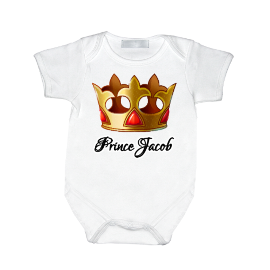 Personalised baby vest fit for a Prince newborn up to 12 months