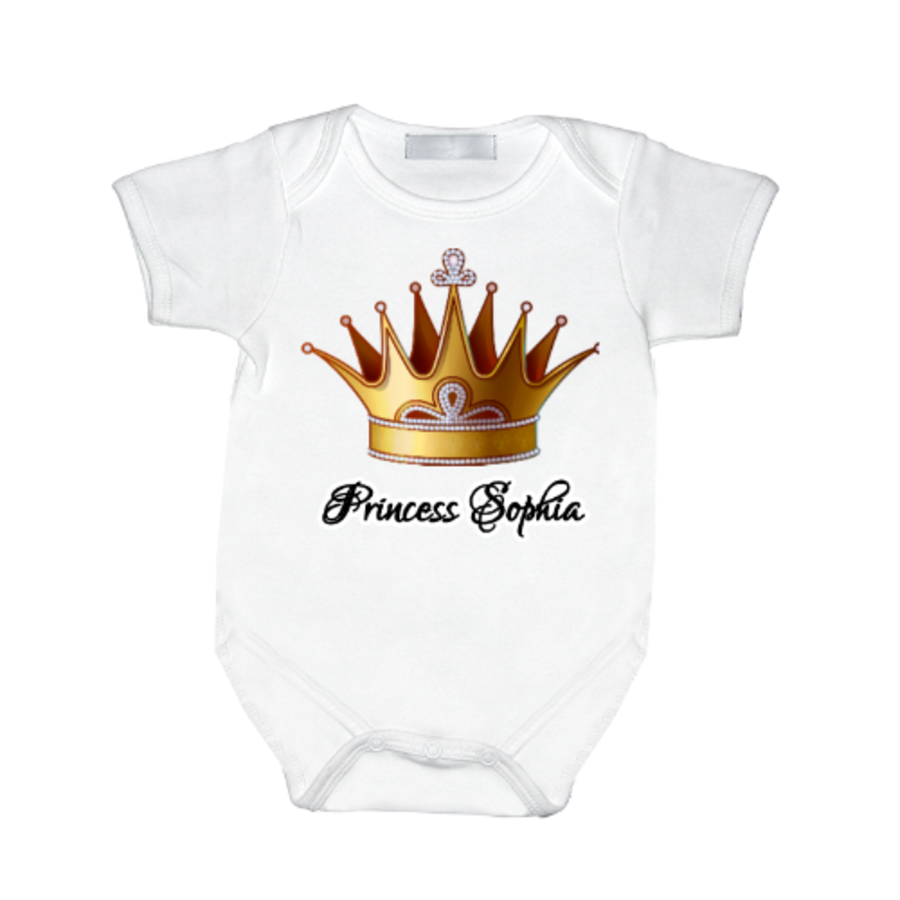 Personalised baby vest fit for a Princess newborn up to 12 months