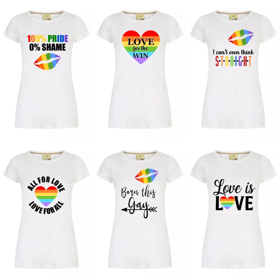 Ladies Fitted tee shirt LGBT Gay Pride various designs sizes small to xx large