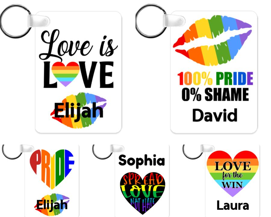 LGBT Gay Pride Key Ring key chain 6cm x 4cm various designs
