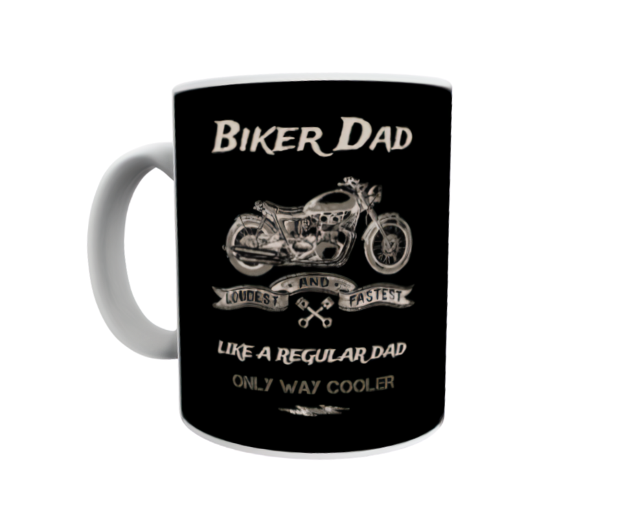 Biker Dad Fathers Day Gift White Personalised Mug