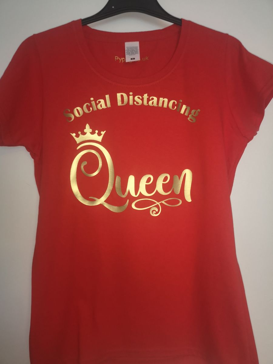 Social Distance Queen Red ladies fitted t-shirt with gold lettering