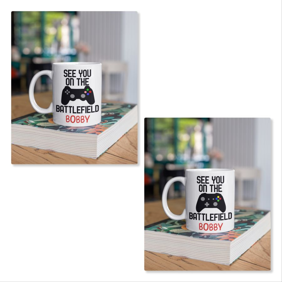 Gamer Personalised Mug See you on the Battle Field control pad