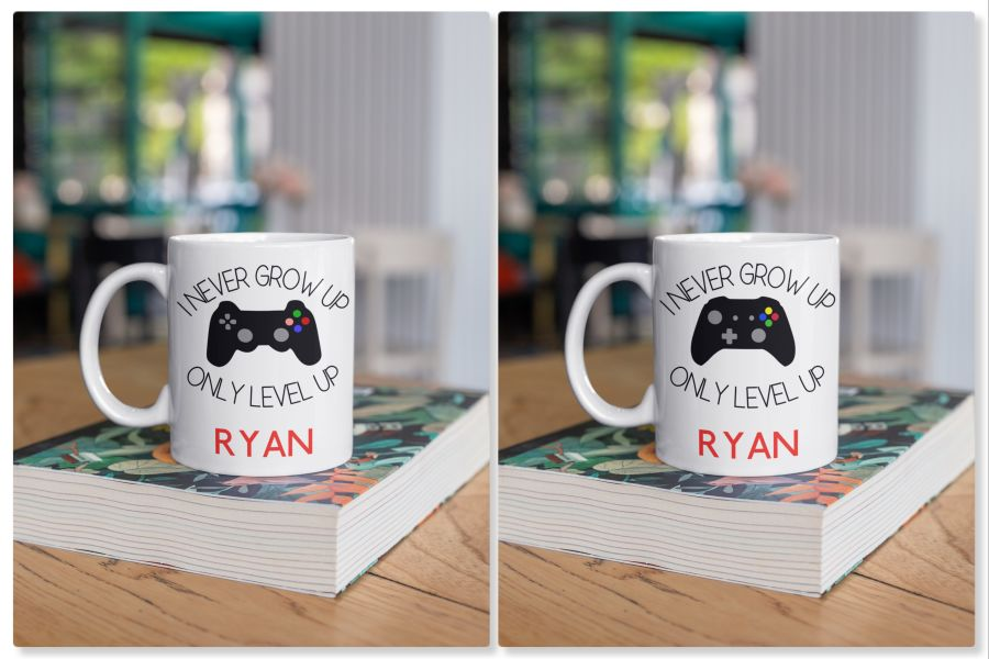 I never grow up only level up gamer pad PS4 XBOX mug