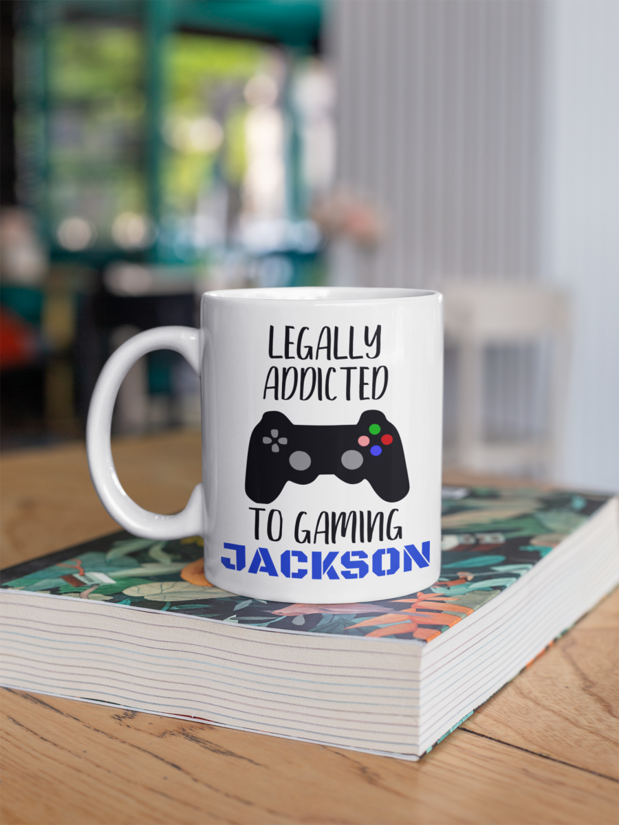 Legally addicted to gaming Gamer themed personalised mug