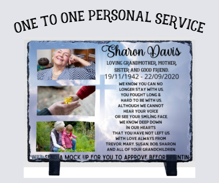 Photo Slate for memorial or memory plaque UK gift shop