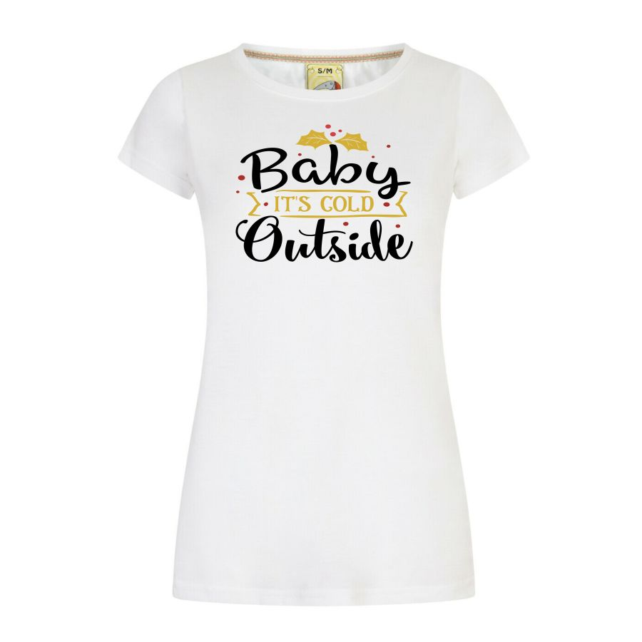 Baby it's cold outside - ladies fitted Christmas T-shirt white