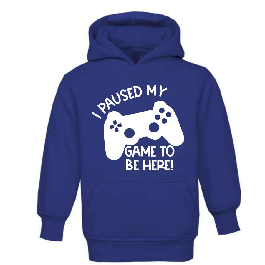 Kids Gamer Hoodie Blue Paused Game to be here