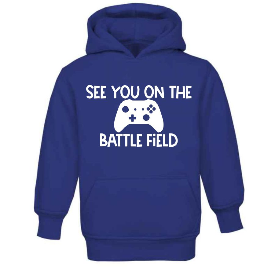 Kids Gamer Hoodie Blue see you on the battlefield