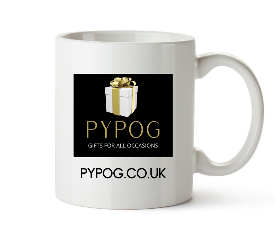 Your logo or brand plus text on 6 x mugs