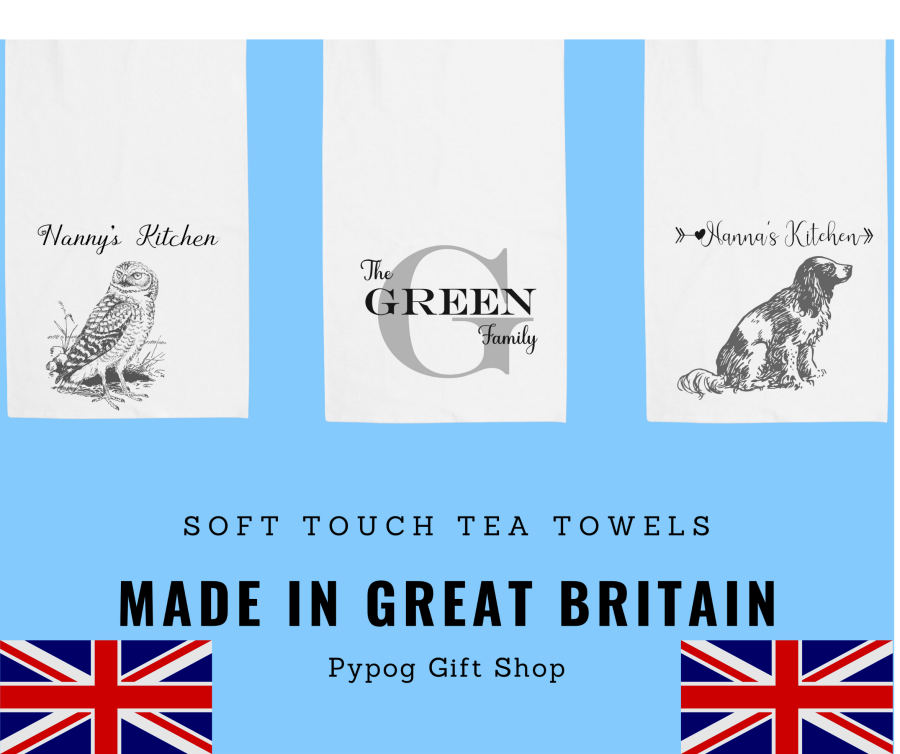 Soft Feel Personalised Tea Towel Made in Britain