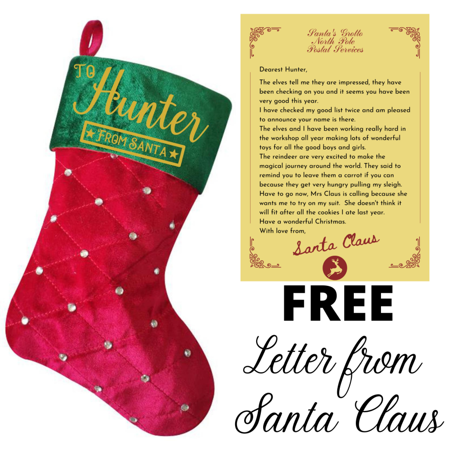 Custom Personalised Red Gold Green Diamante Stocking 40CM X 25CM FREE Personalised Letter from Santa Claus