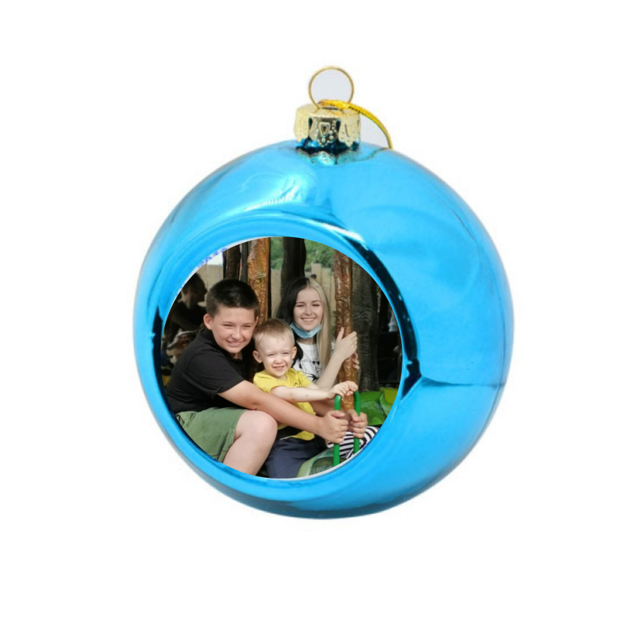 Personalised  blue Photo Bauble - Christmas tree bauble with photo