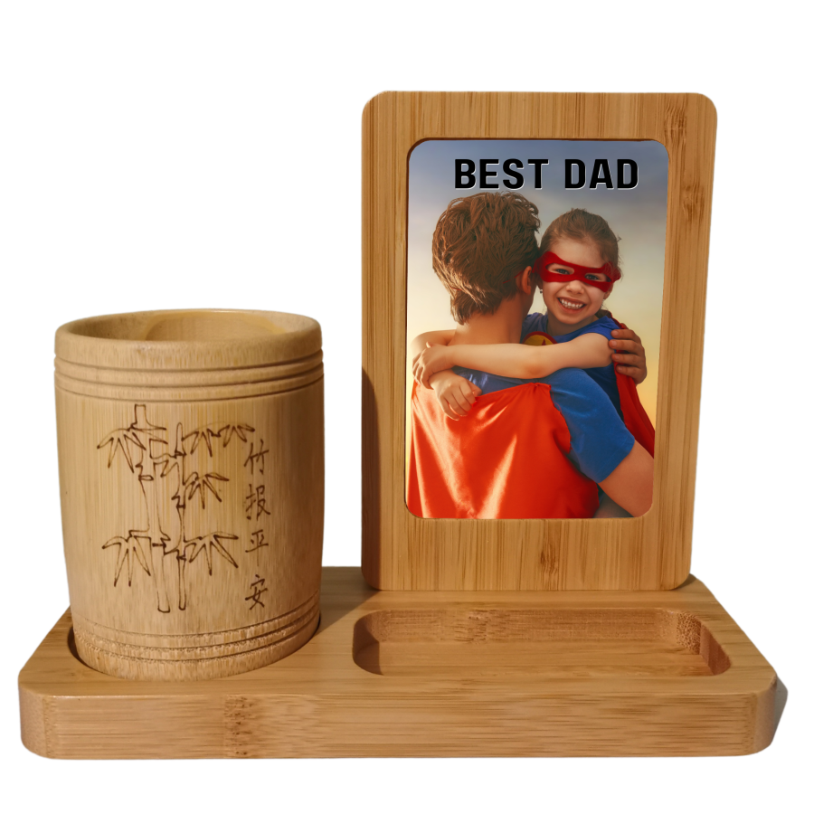Bamboo Desk Tidy with photo printed onto white part