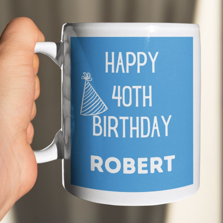 Happy Birthday with any age custom coffee mug