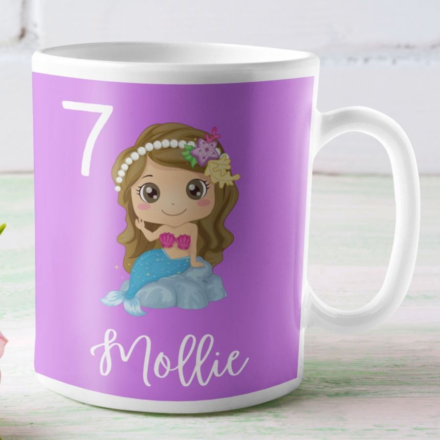 Children's custom mermaid mug for any age