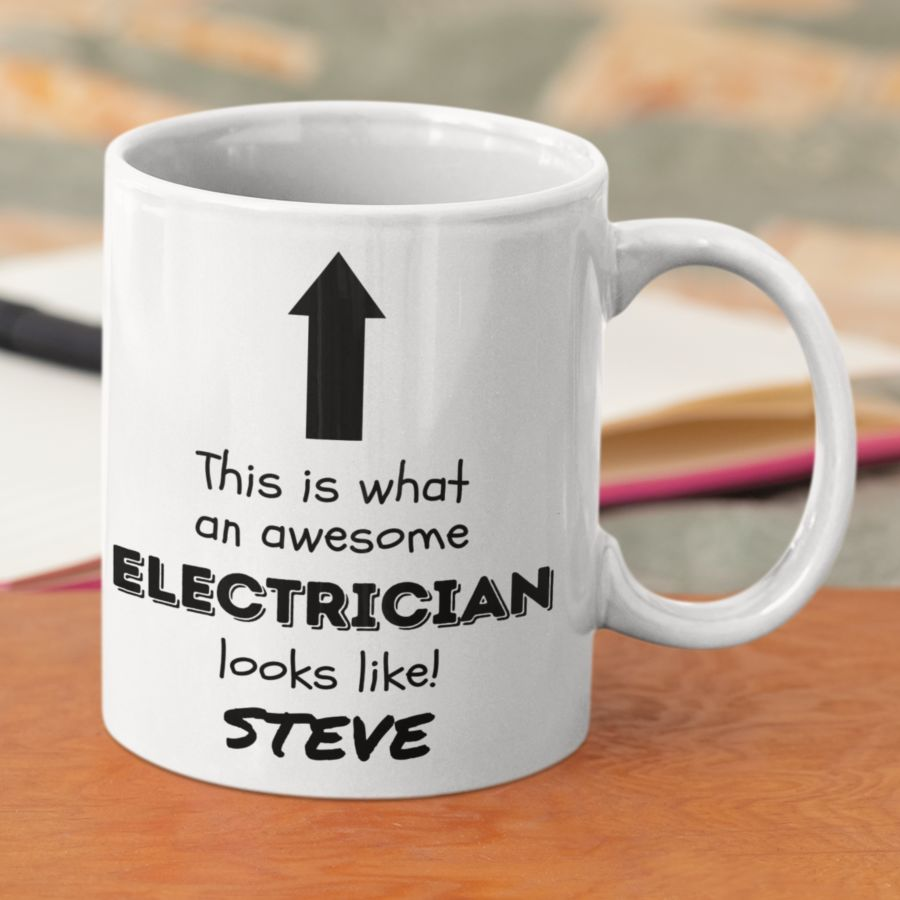 This is what an awesome electrician looks like tradesman mug