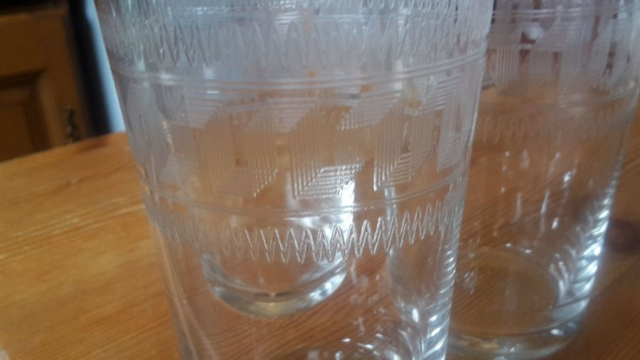 3 x etched drinking glasses