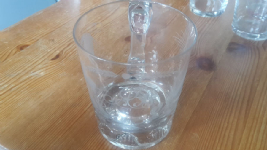 Glass engraved cup with initials AB