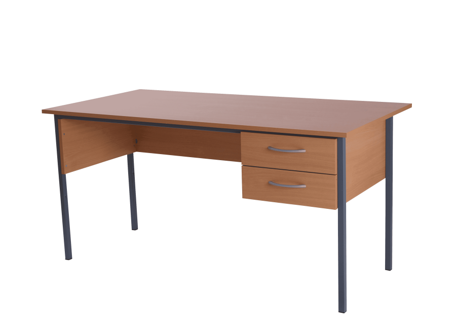 Basix 1200 Admiralty desk with 2 standard drawers Warm Beech