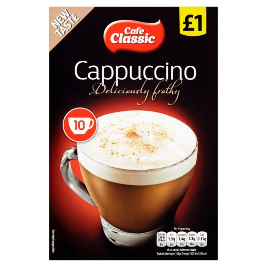 Cafe classic cappuccino sachets 10 x 14g x 12