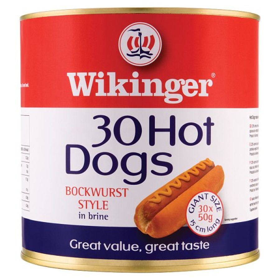 Wikinger 30 Hot Dogs Beechwood Smoked Bockwurst Style in Brine 3000g (Drained Weight 1500g)