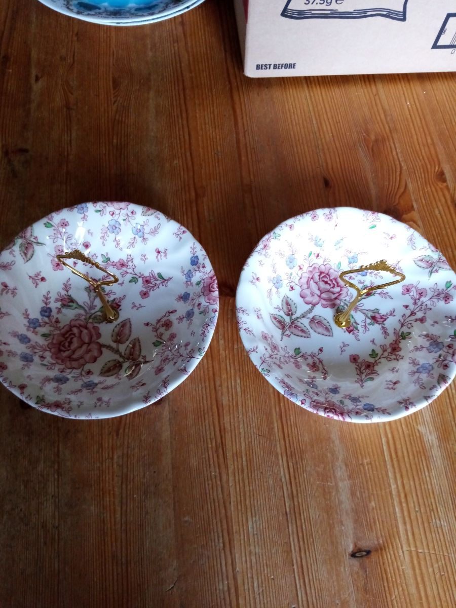 2 x johnson brothers bowls upcycled for sweets and treats