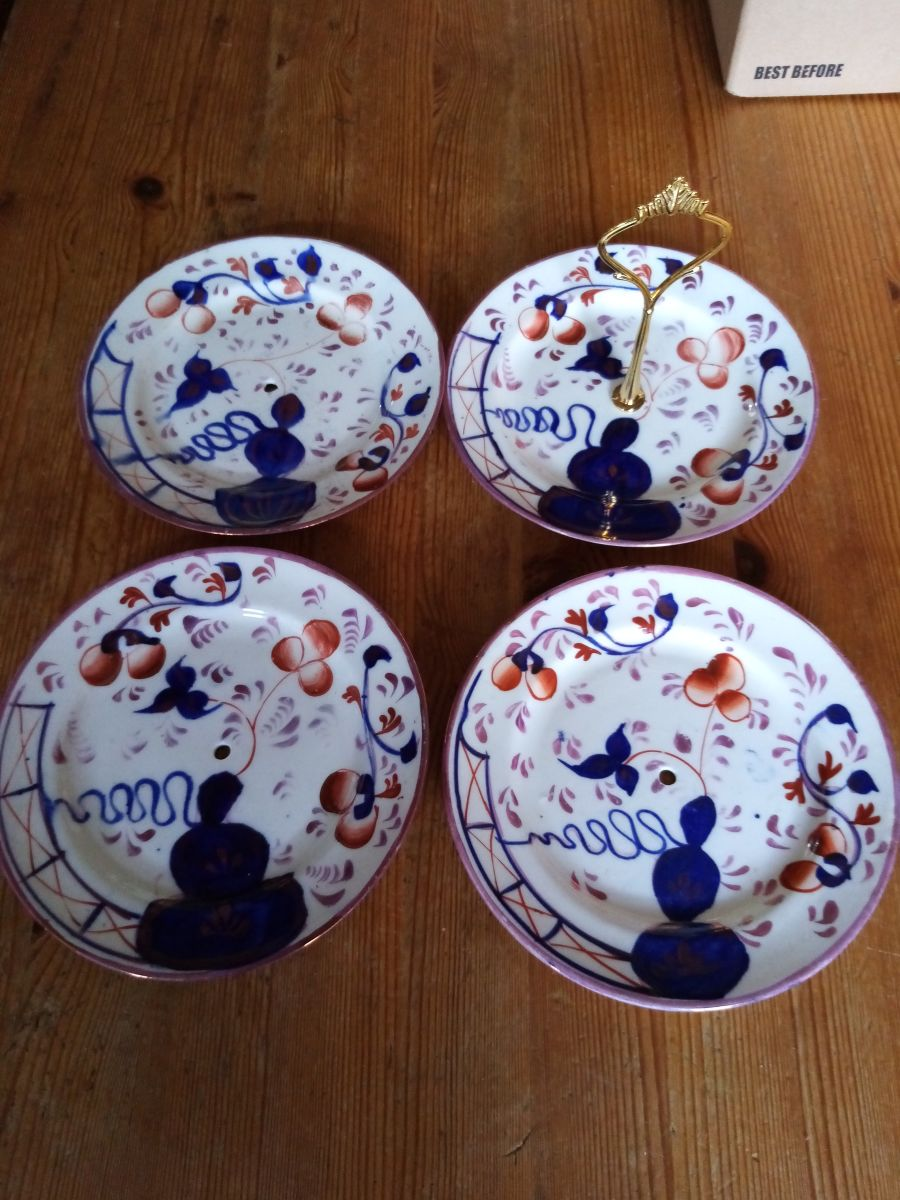 hand painted plates x 4 for sweets and treats