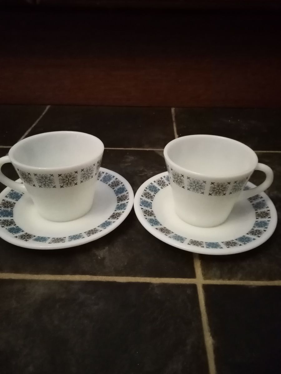 pair of JAJ pyrex cup and saucer, Chelsea design - made in England