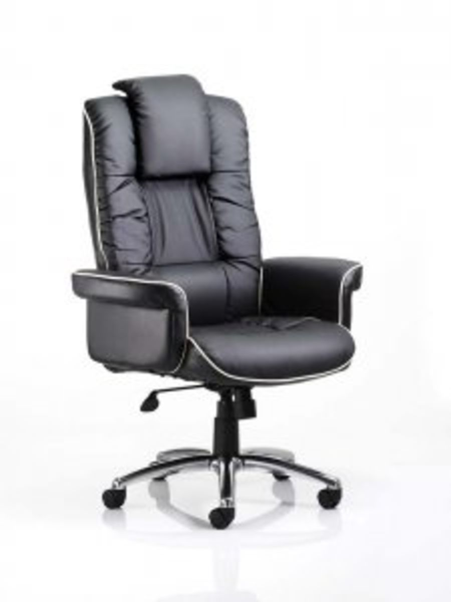 Chelsea Executive Chair Black or Cream Bonded Leather With Arms