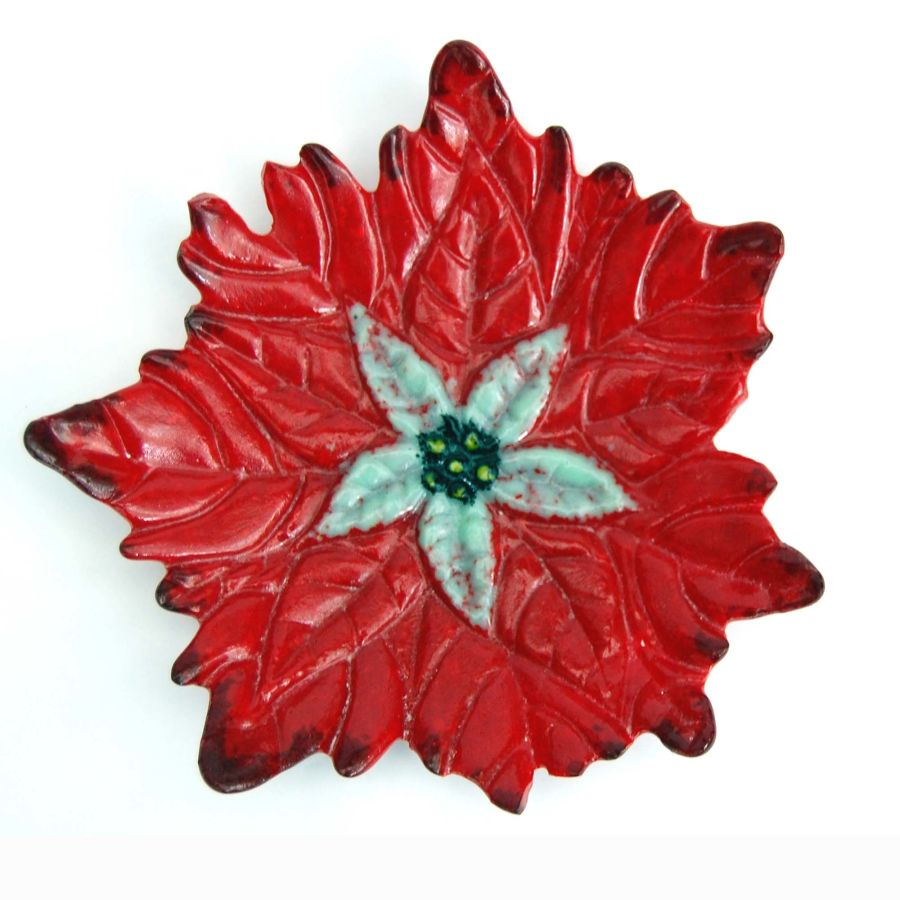 Fused Glass Flower Dish Bowl Poinsettia with Stand