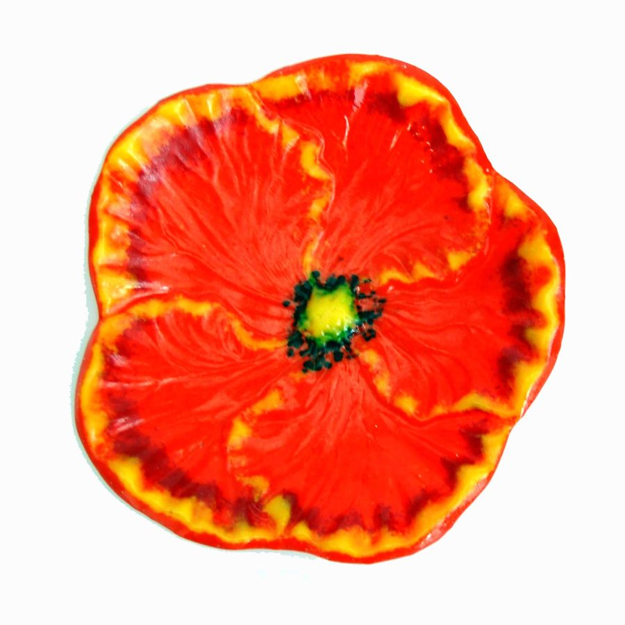Fused Glass Flower Dish Bowl Hibiscus with Stand