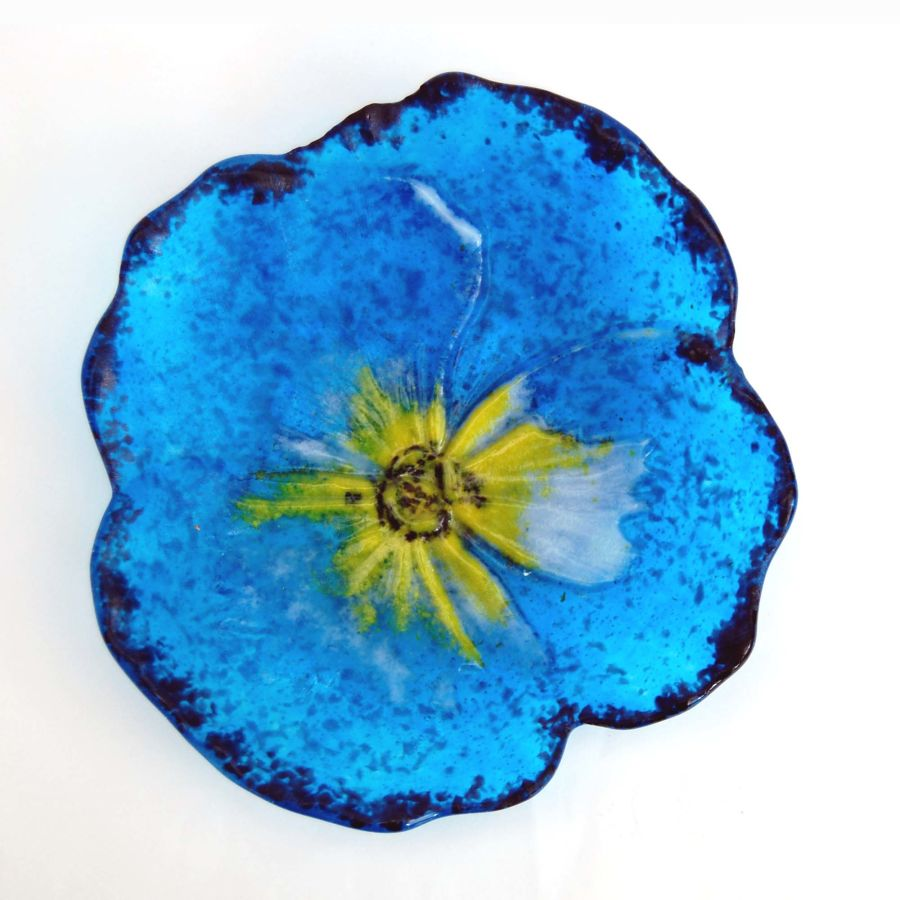 Fused Glass Flower Dish Bowl Pansy with Stand