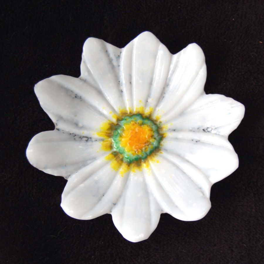 Fused Glass Flower Dish Bowl Daisy with Stand