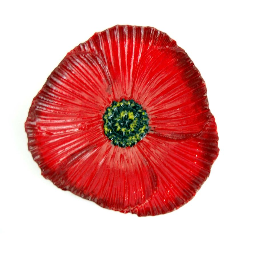 Fused Glass Flower Dish Bowl Poppy with Stand
