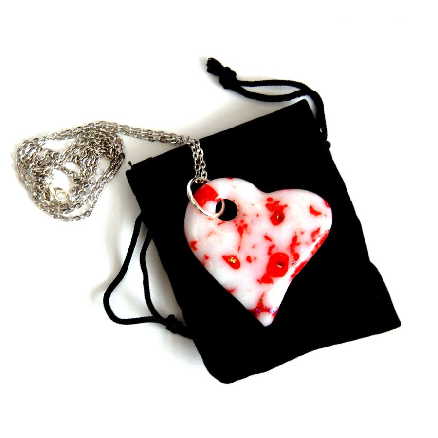 Fused Glass Heart Pendant White Red